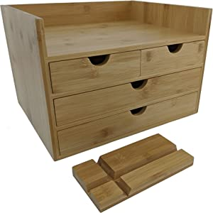 Sherwood & Co. Large 4-Tier Bamboo Desk Organizer with Drawers - Perfect for Desk Office Supplies, Vanity, Kitchen and Home or Office Tabletop with Bonus Tablet/Phone Stand
