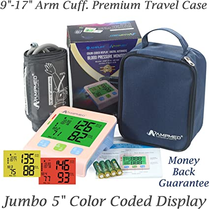 """Fully Automatic Medical Grade Upper Arm Digital Blood Pressure Monitor, 8.7""""-16.5"""" Small to X-Large Arm Cuff, Jumbo 5"""