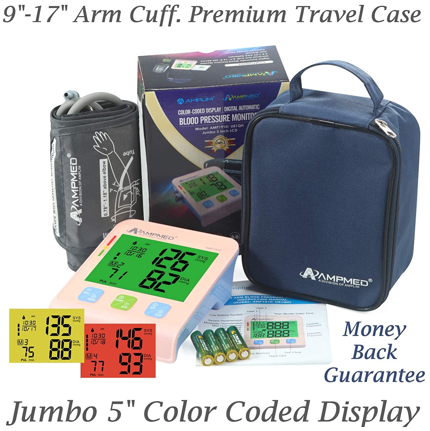 Fully Automatic Medical Grade Upper Arm Digital Blood Pressure Monitor with 9 -17 Small to X-Large Arm Cuff, Jumbo 5 Color Display, Large Memory and Premium Storage Pouch. Amplim 2-User BP Machine