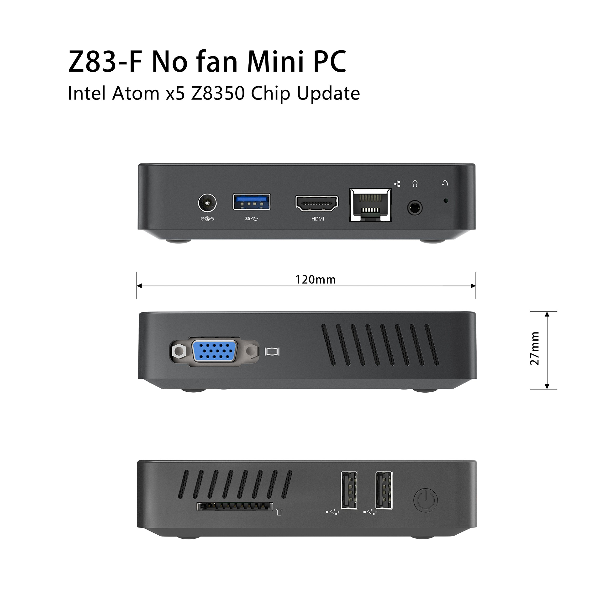 Upgraded Z83-F Fanless MINI PC Desktop, 4GB/32GB Intel Atom x5-Z8350 (up to 1.92 GHz) HD Graphics 400/ 4K/ 2.4G+5.8G WiFi/ 1000Mbps LAN/ BT4.0 [VGA&HDMI Dual Output] [Support Windows 10 64-Bit] by Plater (Image #4)