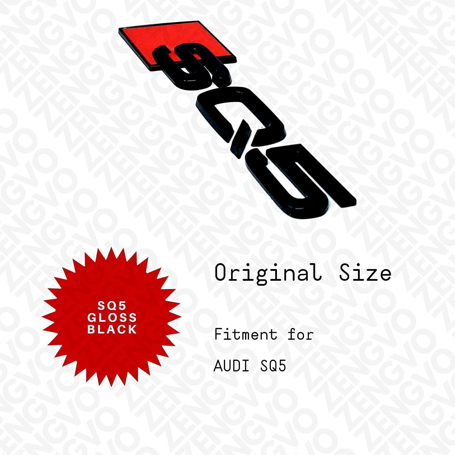 pack of 1 SQ5 GLOSS Car Emblem Badge Stickers Decals 3M Letters Logo Universal Fitment For SQ5 4 RINGS ZENGVO GLOSS BLACK a1 a2 a3 a4 a5 a6 a7 a8 a8l a4l s3 s4 s5 s6 s7 s8 rs3 rs4 rs5 rs6 rs7 r8 q2 q3 q4 q5 q6 q7 q8 sq3 sq5 sq7 ttrs etron 4 rings S lin