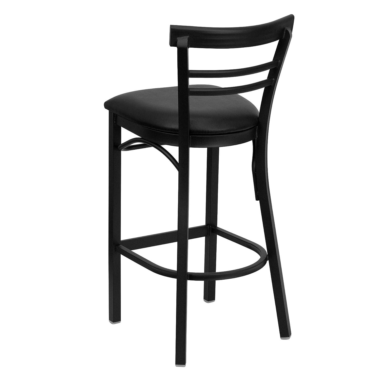 Amazon.com Flash Furniture HERCULES Series Black Ladder Back Metal Restaurant Barstool - Black Vinyl Seat Kitchen u0026 Dining  sc 1 st  Amazon.com & Amazon.com: Flash Furniture HERCULES Series Black Ladder Back ... islam-shia.org