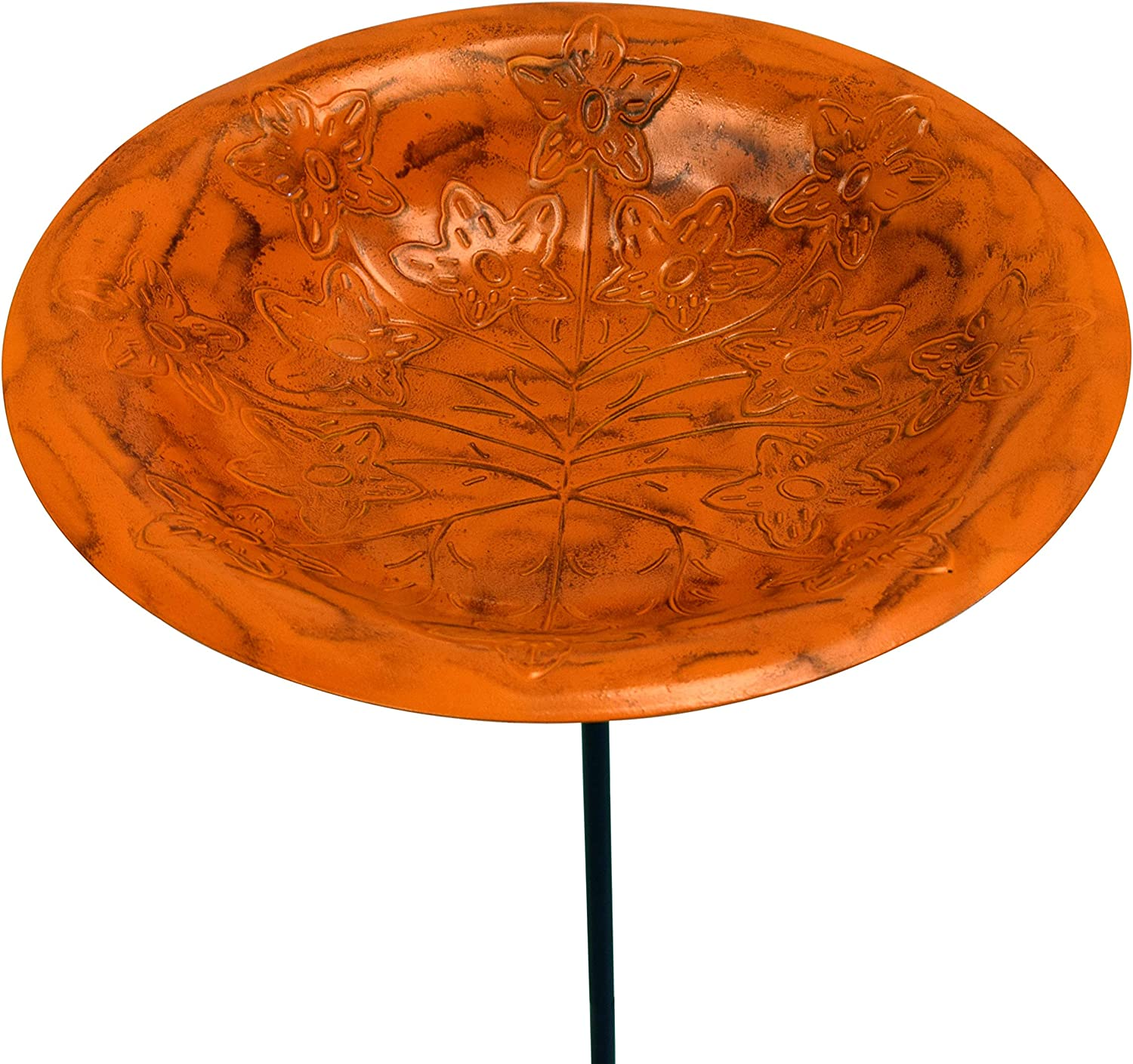 Sunset Orange Paradise Monarch Abode 19141 Handcrafted Standing Bird Bath with Metal Stake