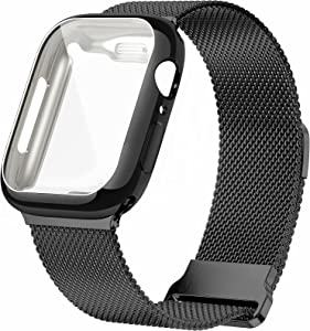 JuQBanke Metal Magnetic Bands Compatible for Apple Watch Band 44mm with Case, Stainless Steel Milanese Mesh Loop Replacement Strap Compatible with iWatch Series SE 6/5/4/3/2/3 for Women Men,Black