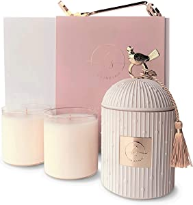 HAUS AND SAGE Luxury Candle Holder Gift Set with 2 Scented Candles for Home Decor - 4 piece Large Candle Set with 8.5 oz Soy Candle Refills - Centerpiece for Dining Room Table Decor - Premium Gift Box