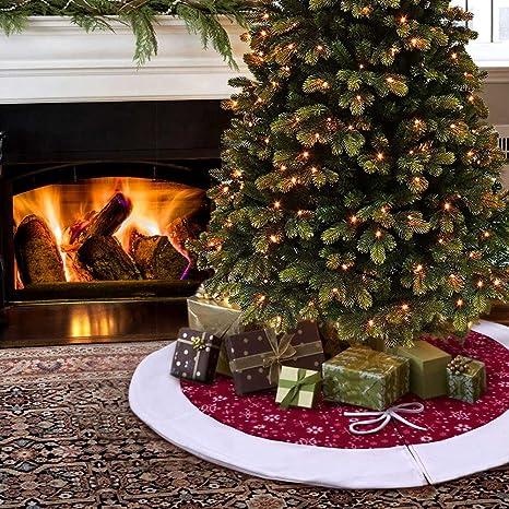 Foto Di Natale Albero.Aytai 122cm Velluto Rosso E Bianco Fiocco Di Neve Albero Di Natale Gonna Per La Decorazione Di Natale