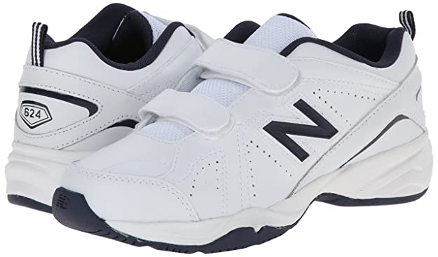 New Balance KV624 Youth Hook and Loop Training Shoe (Little Kid/Big Kid), White/Navy, 30 XW EU