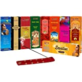 SLM CLASSIC COLLECTION Incense sticks Combo Pack of 9 - Paradise, Black king, Gold Coin, Chandan,Rose, Musk, Kasturi, Magical Feather, Devotion Florabatti + 1 wooden stand(GIFT)