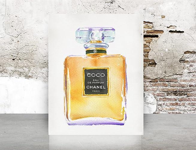 Amazon.com: Fashion Wall Art Watercolor Chanel COCO Perfume Print ...