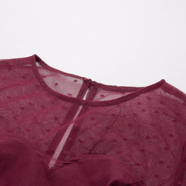 Belle Poque Damen Vintage Rockabilly Kleid Durchsichtig Langarm Bodycon Pencil Kleid BP720