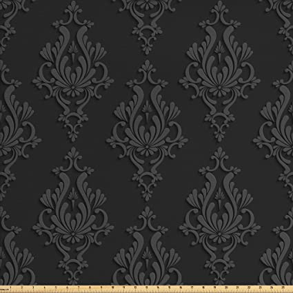 9ed854730e Ambesonne Dark Grey Fabric by The Yard, Antique Damask Pattern in 3D Style  Classic Old
