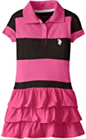 U.S. Polo Assn. Little Girls' Ruffled Striped Polo Dress