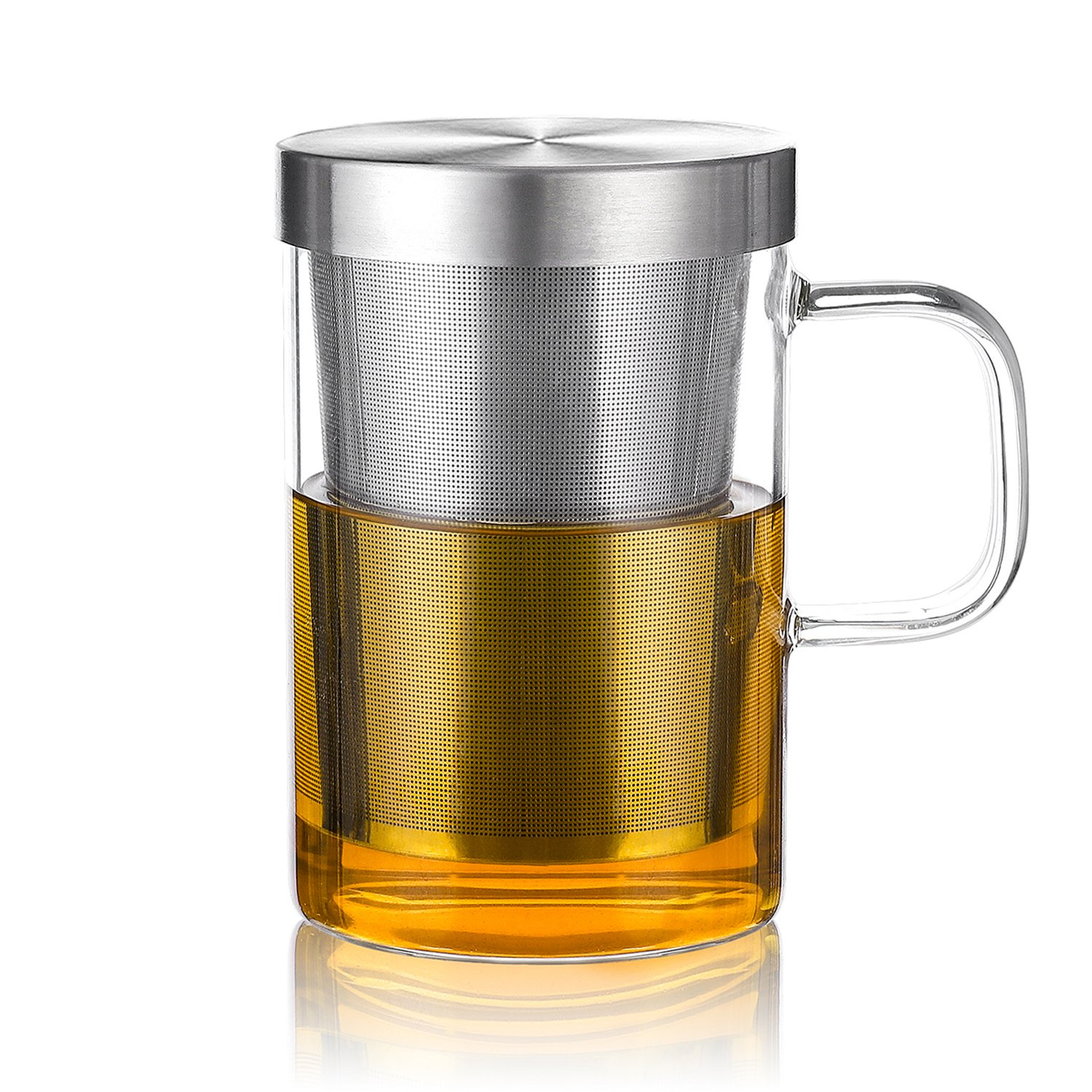 Teocera Tea Brewing Cup with Tea Infuser & Strainer - Clear Glass Tea Mug Cup with Handle, Stainless Steel Infuser and Lip, Perfect for Tea Lovers | Mesh Filter for Brewing Loose Leaf