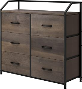 HOMECHO Fabric Dresser with 6 Drawers, Wide Chest of Drawers with Wood Top, Sturdy Metal Frame, Furniture Storage Tower for Bedroom, Closets, Hallway, Entryway, Dark Brown