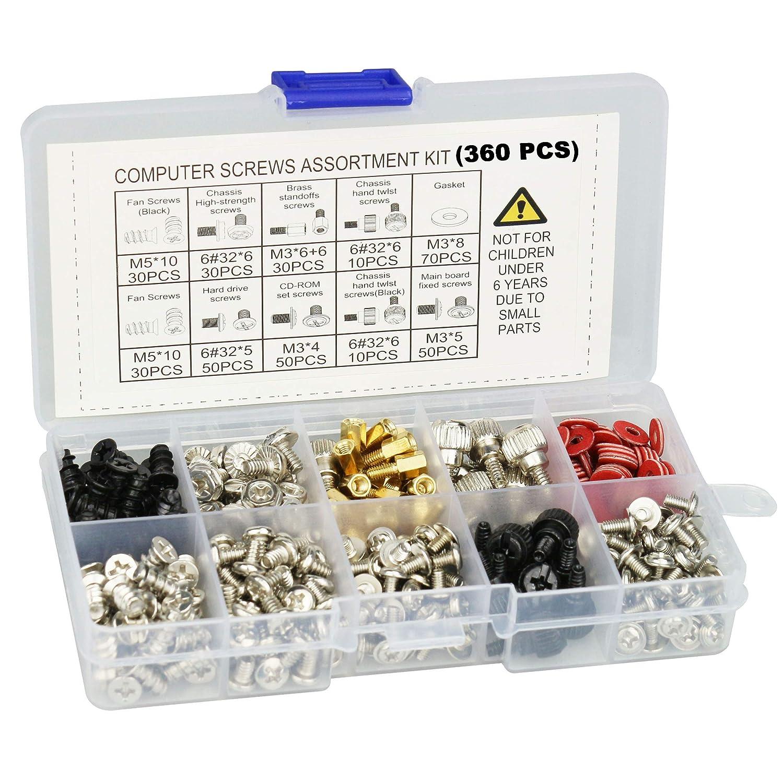 360PCS Personal Computer Screws Standoffs Assortment Kit for Hard Drive Computer Case Motherboard Fan Power Graphics