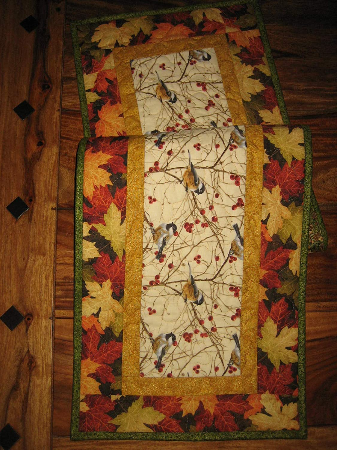 Quilted Table Runner Mountain Chickadee Bird 13x48