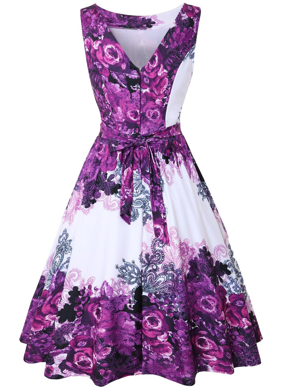 MISSJOY Womens Vintage 1950s Sleeveless Garden Party Dress