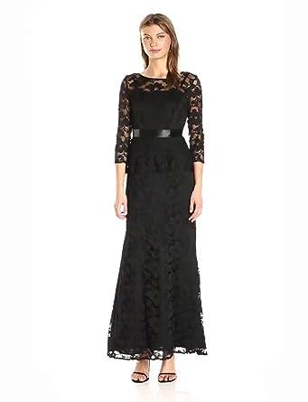 c5675a8d2079f Chetta B Women s 3 4 Sleeve Lace Peplum Magic Wasit Gown w Satin Ribbon