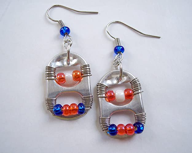 amazon com pop tab earrings blue orange and white handmade