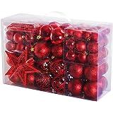 Yorbay - Bolas de Navidad Incluyendo la Cadena de perlasy la Estrella del árbol, Color Rojo
