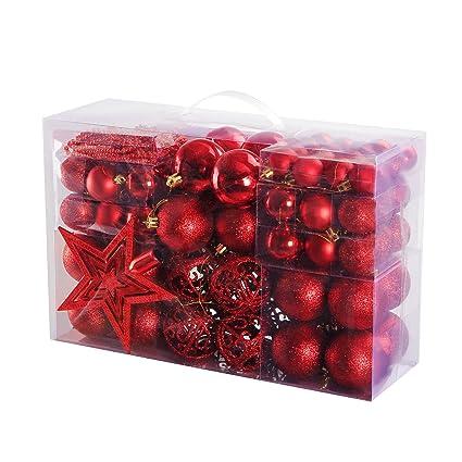 Christbaumkugeln Amazon.Yorbay Weihnachtskugeln Christbaumkugeln Set Inklusive Perlenkette Und Baumspitze Rot