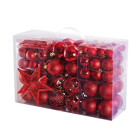 Christbaumkugeln Set Rot.Yorbay Weihnachtskugeln Christbaumkugeln Set Inklusive Perlenkette Und Baumspitze In Verschiedenen Farben Rot