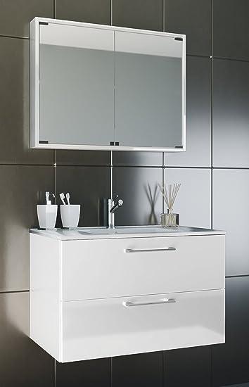 VCM Waschplatz Badmöbel Badezimmer Komplett Set Waschtisch Waschbecken  Spiegel Badblock U0026quot;Tenasu0026quot; Breite 80