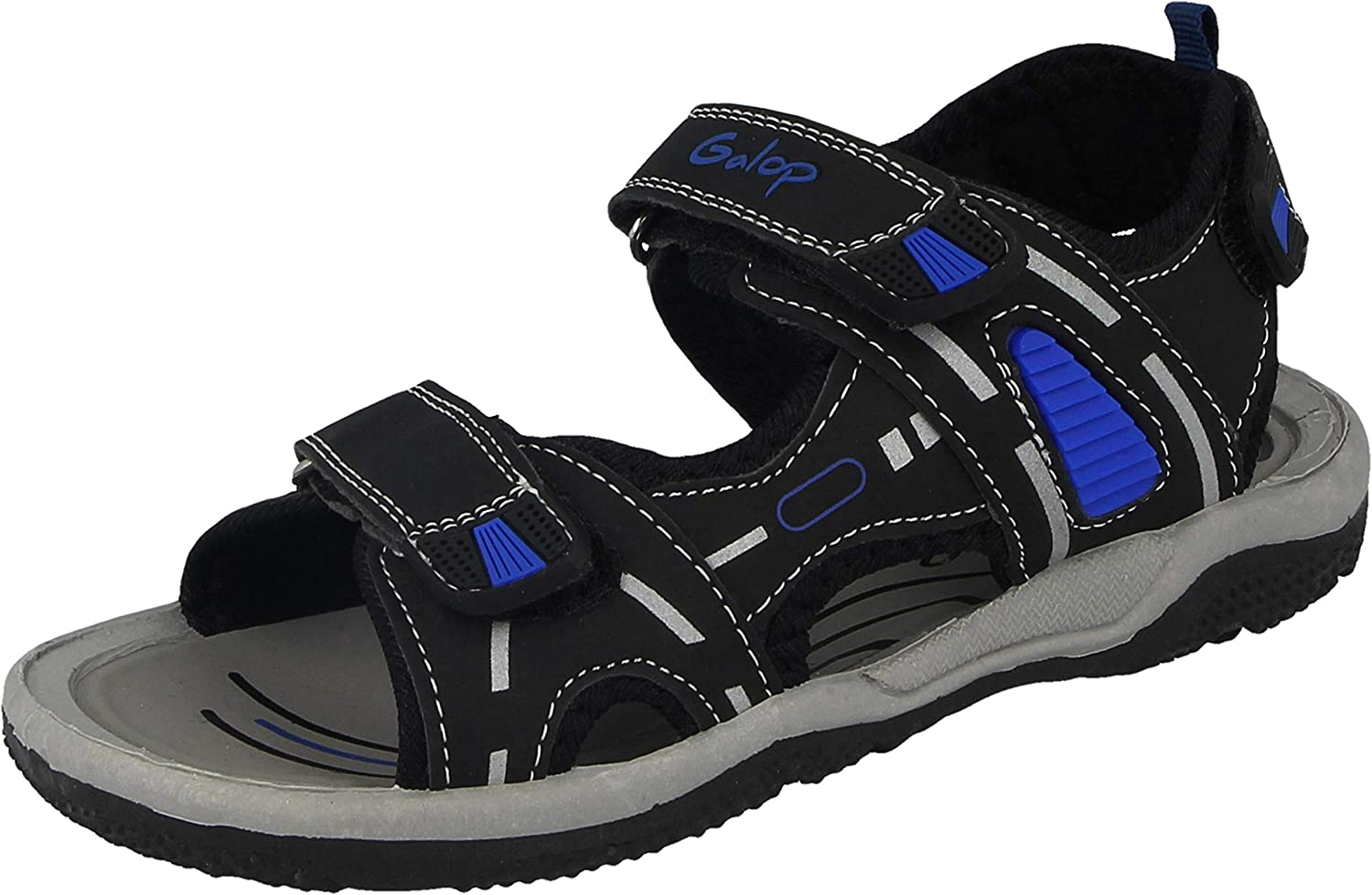 Boys Kids Infant 770406 Faux Leather Dinosaur Double Touch Close Straps Open Toe Gladiator Summer Sandals Size 6-2
