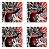 Ambesonne Music Coaster Set of 4, Music Old