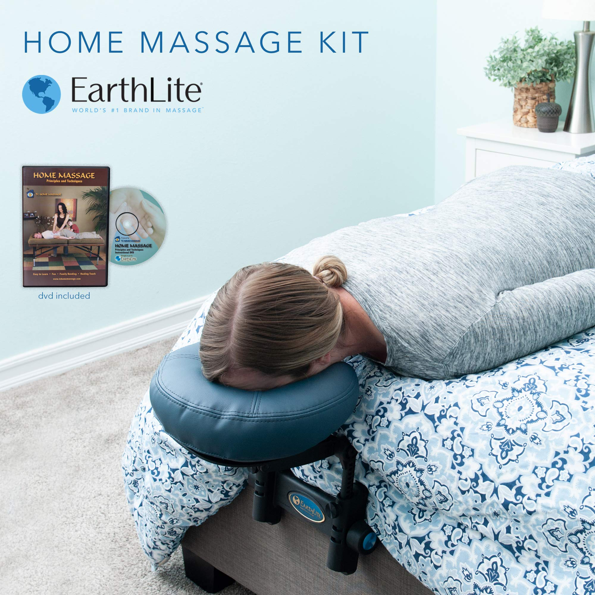 EARTHLITE Home Massage Kit - Deluxe Adjustable Headrest & Face Pillow / Home & Family Massage Made Easy with instructional DVD by EARTHLITE