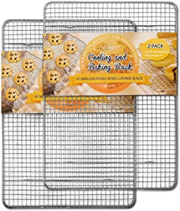 "Hiware 2-Pack Cooling Racks for Baking - 10"" x 15"" - Stainless Steel Wire Cookie Rack Fits Jelly Roll Sheet Pan, Oven Safe for Cooking, Roasting, Grilling"
