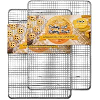 """Hiware 2-Pack Cooling Racks for Baking - 10"""" x 15"""" - Stainless Steel Wire Cookie Rack Fits Jelly Roll Sheet Pan, Oven…"""