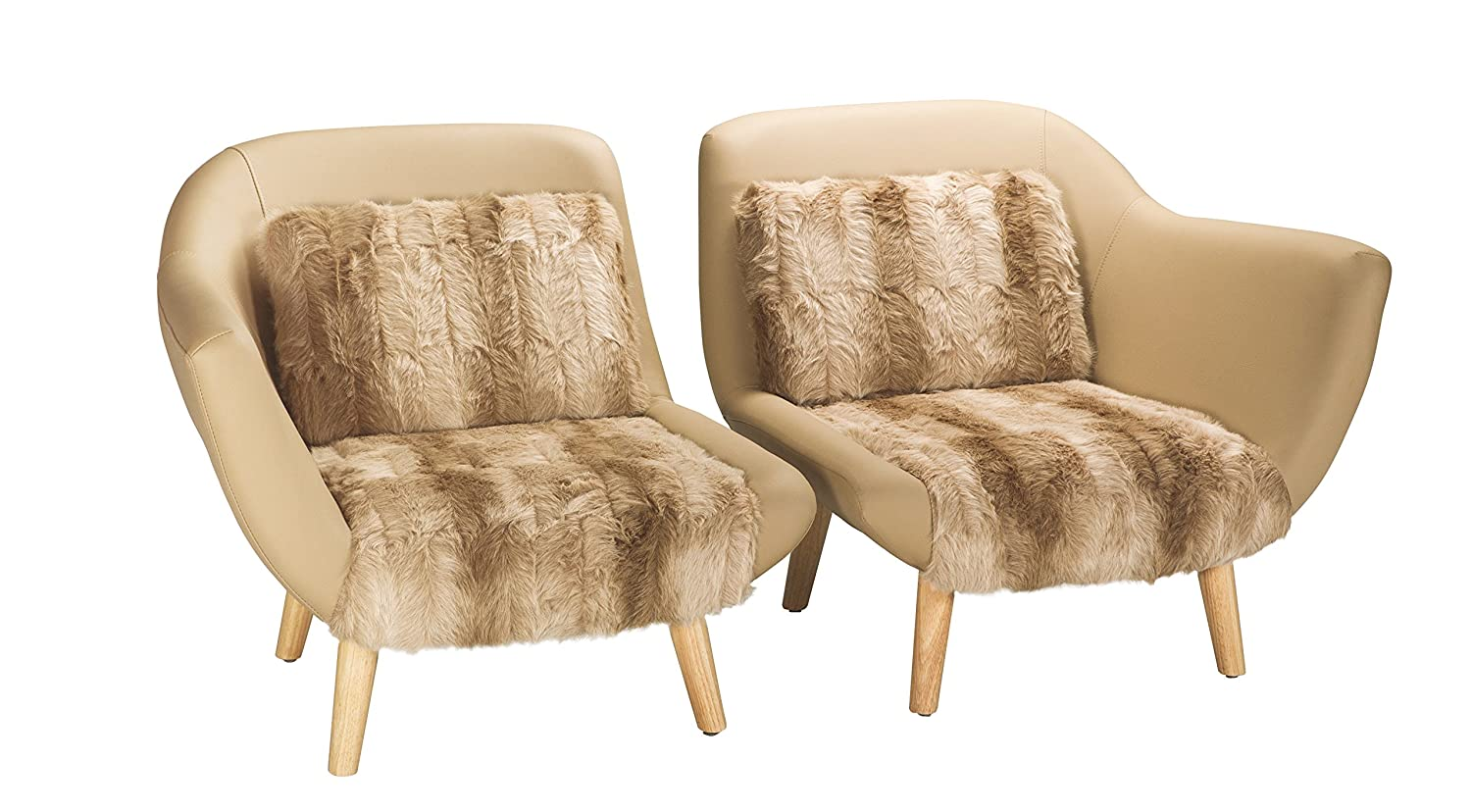 Pirouette - Juego de Dos sillones Lovers, Madera, Beige, 142 ...