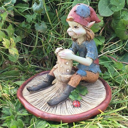 Duende sobre seta, escultura mágica misteriosa, figuras decorativas para jardín de alta calidad, elfos y hadas, altura 10 cm: Amazon.es: Jardín