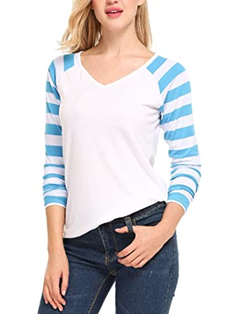 8b515eccfb9 Zeagoo Women s V Neck Long Sleeve Raglan Baseball Shirts Tee with Striped  Sleeve White S