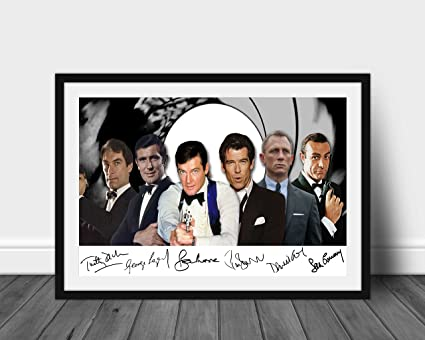 James Bond 007 Actors Signed Print A4