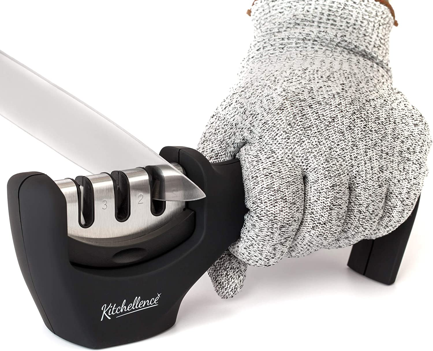 KITCHELLENCE 3-Stage Kitchen Knife Sharpener