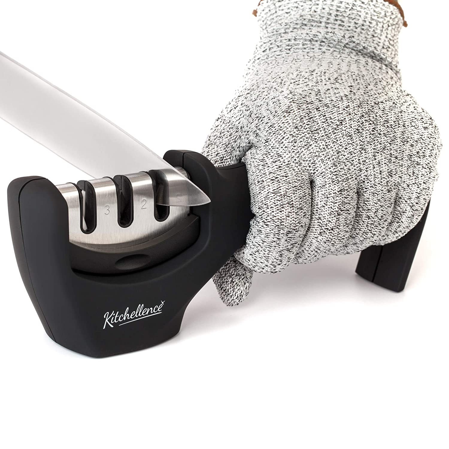 Kitchen Knife Sharpener - 3-Stage Knife Sharpening Tool Helps Repair, Restore and Polish Blades - Cut-Resistant Glove Included (Black)