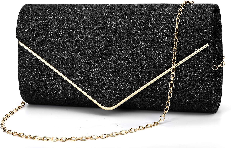 ZIUMUDY Women's Glitter Envelope Clutches Evening Bags Bridal Wedding Party Purse Handbag