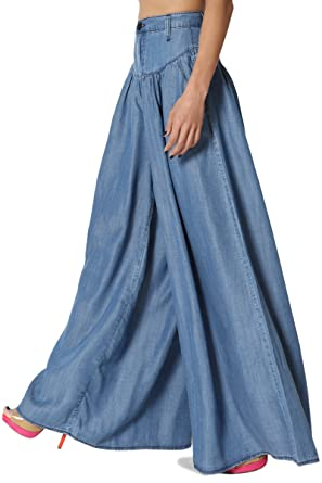 competitive price 1093d 68fa8 TheMogan Tencel Denim Pleated Wide Leg Palazzo Pants High Waisted Trousers