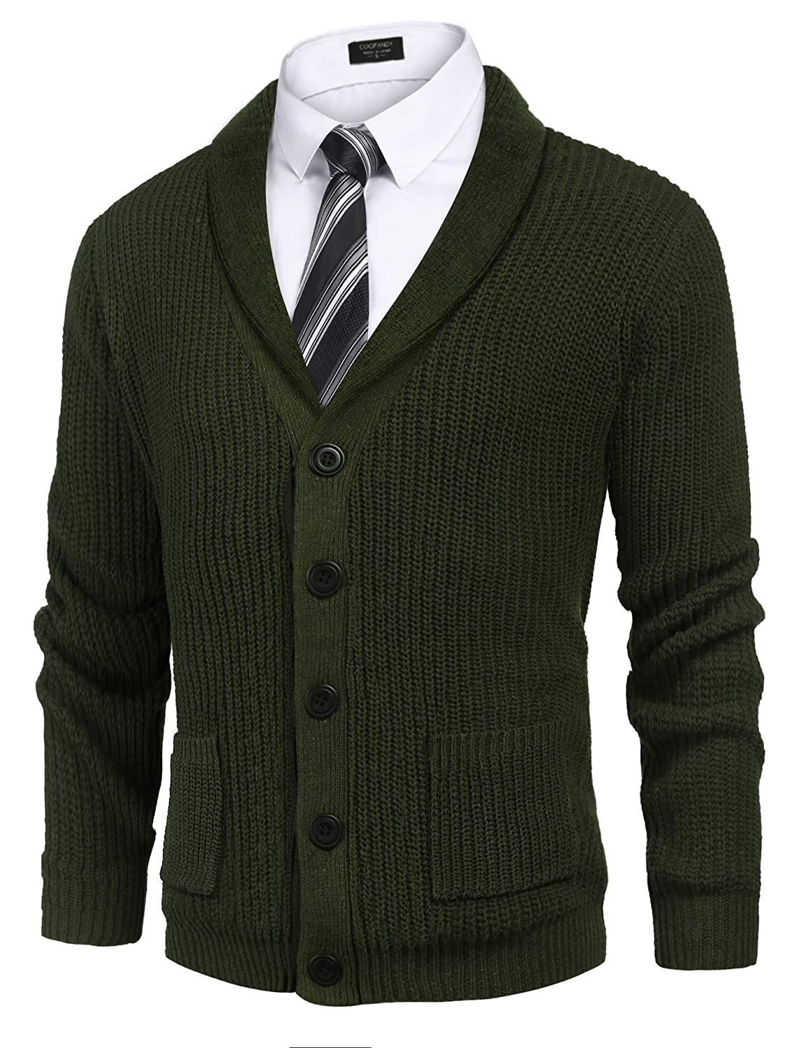 COOFADNY Mens Shawl Collar Cardigan Sweaters Cable Knit