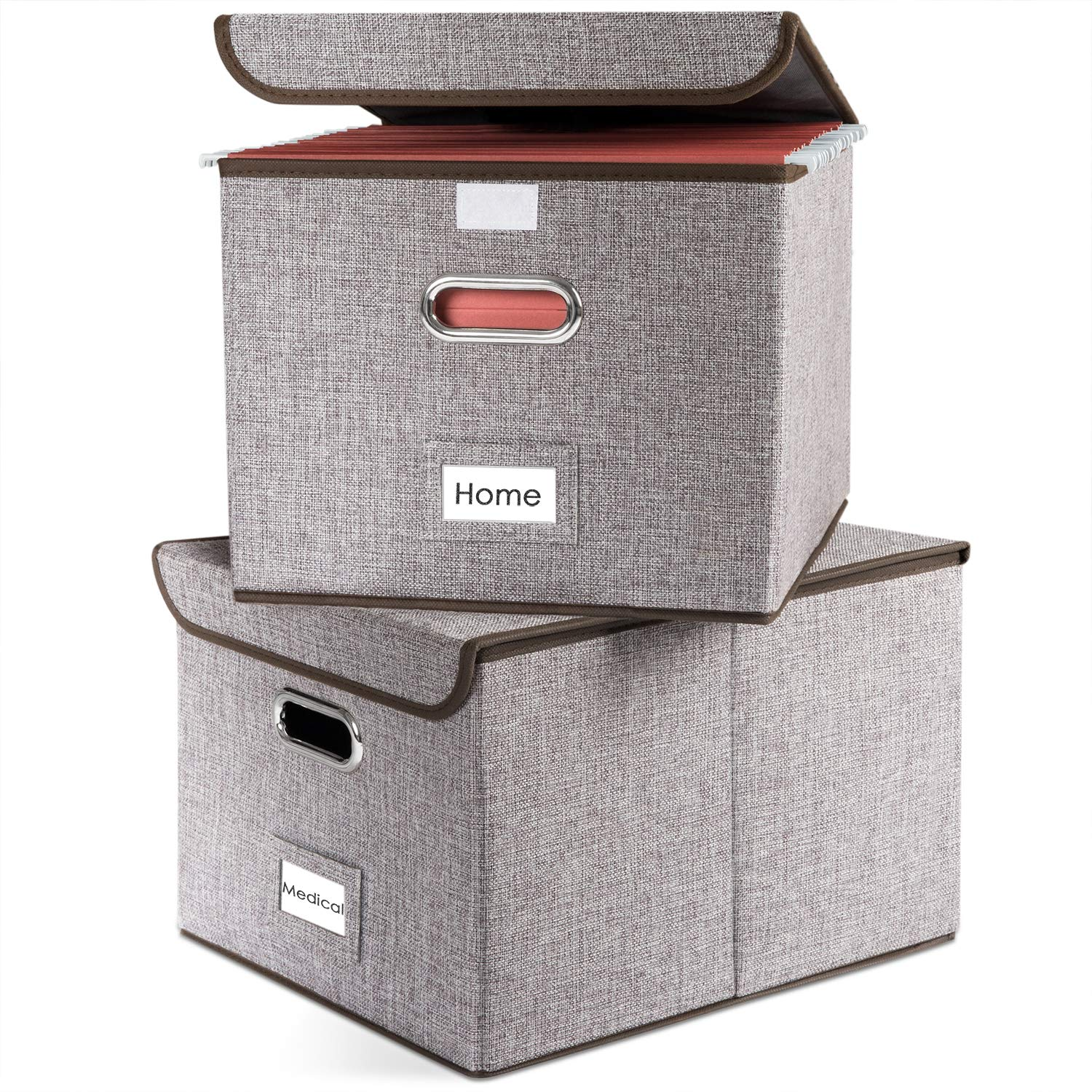 Prandom File Boxes Set of 2 Collapsible Decorative Linen Filing Storage Organizer Hanging File Folders with Lids Office Cabnet Letter Size Important Document Gray by Prandom