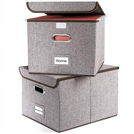 Amazoncom Prandom File Boxes Collapsible Decorative Linen