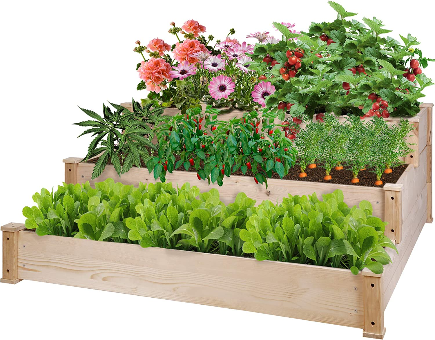 Raised Garden Bed 3 Tier Elevated Planter Box Gardening Bed Grow Herbs, Vegetables, Fruits, Flowers, Natural Pine Wood