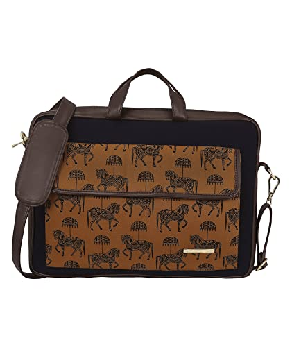 ef9abe5f4b49 Funk For Hire Printed Brown Cotton Canvas and Faux Leather Laptop sling Bag  fit up to 16