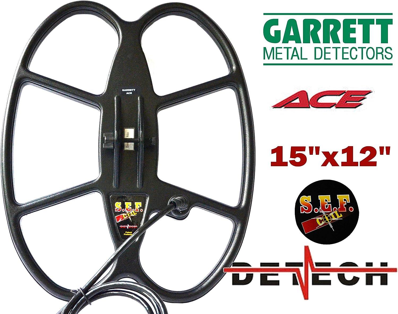 DETECH - Bobinas de búsqueda para detectores de metales Garrett Ace Series 150/200/200i/250/300/300i/ 350/400/ 400i y Garrett Euro ACE detector de metales con protector de bobina