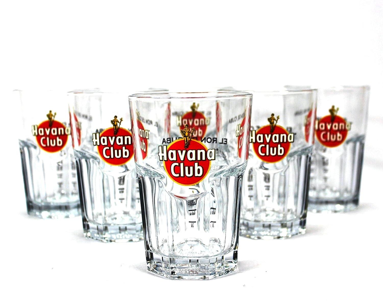 6 Havana Club rum glasses