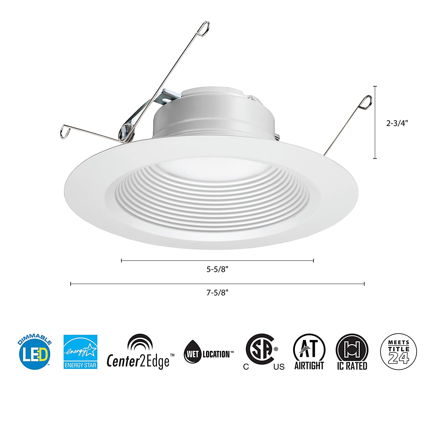 Lithonia Lighting 5/6 Inch White Retrofit LED Recessed Downlight, 12W Dimmable with 3000K Bright White, 835 Lumens - - Amazon.com