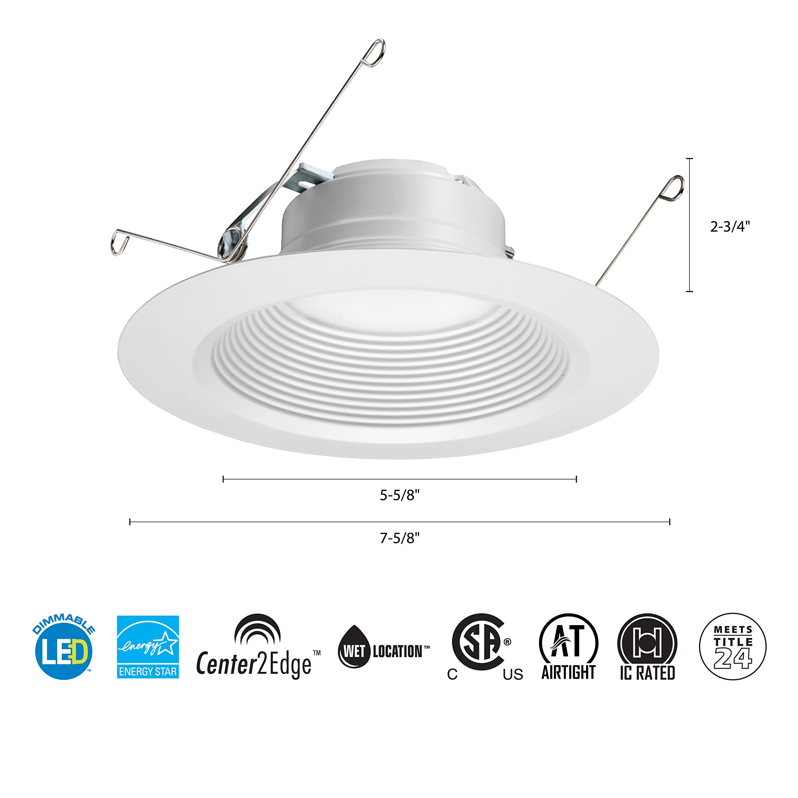 Lithonia Lighting 5/6 Inch White Retrofit LED Recessed Downlight, 12W Dimmable with 5000K Day White, 825 Lumens by Lithonia Lighting (Image #4)