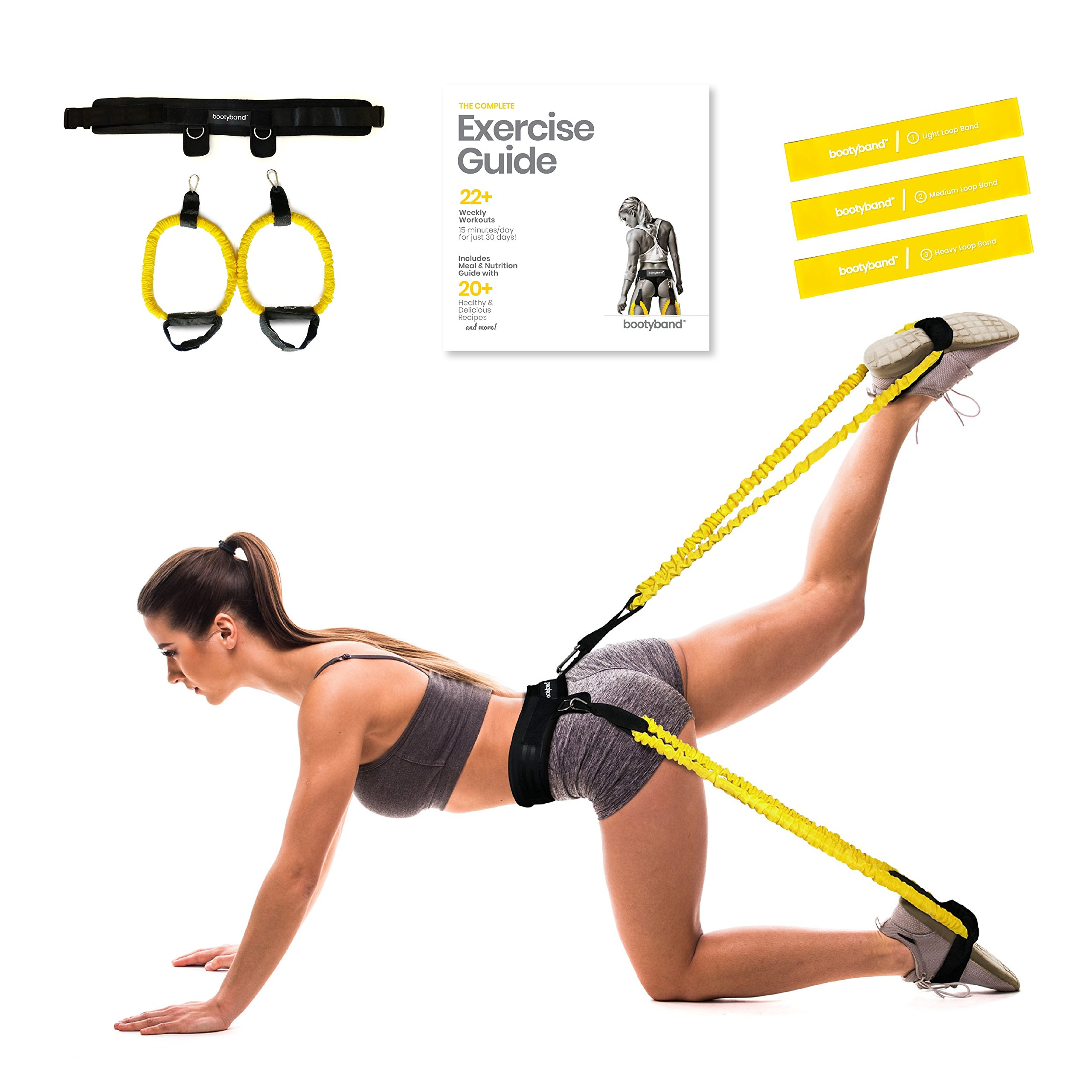 Booty Band Set - Booty Belt System for Glute Workout. Advanced Butt Lift Tool Includes Adjustable Waist Belt, 2 Tube Bands, 3 Mini Resistance Bands, Carry Bag and a Full Exercise Guide